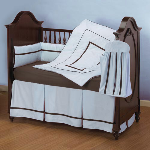 hotel style crib bedding set in blue at Sears.com